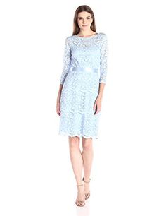 Marina Women's Gramercy Stretch Floral Lace 3/4 Sleeve Dress with Tiered Skirt and Satin Ribbon, Blue, 14