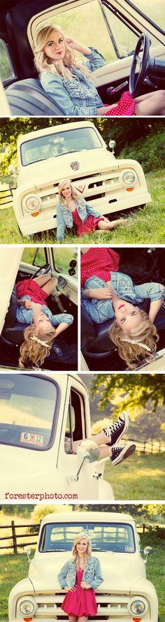 Truck senior picture ideas for girls. Senior pictures with trucks. Truck senior pictures. #truckseniorpictureideas #truckseniorpictures #seniorpictureideasforgirls