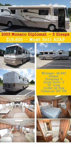 2003 Monaco Diplomat 40 DST - Families on the Road Camper Life, Rv Life, Caravan, Outdoor Camping, Rv Camping, Glamping, Rv Carports, Cheap Rv, Rv Living