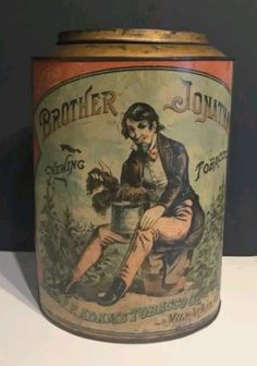 Rare Original Brother Jonathan Tobacco Tin Cigar Store, Display Cases, Store Displays, Tins, Brother, Country, Antiques, Tin Cans, Antiquities