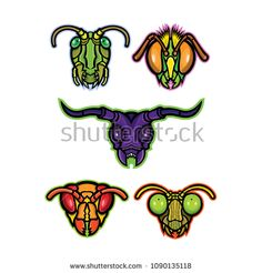 Mascot icon illustration set of heads of insects like grasshopper, cricket or locust, honey bee or bumblebee, long-horned beetle, hornet or wasp and praying mantis viewed from front in retro style. Praying Mantis, Bugs And Insects, Retro Fashion, Royalty Free Stock Photos, Retro Illustration, Graphic Design, Wasp, Hornet, Retro Style