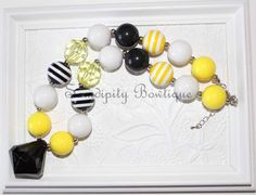Bumble Bee Chunky Bubblegum Bead Necklace  by SamdipityBowtique, $21.95