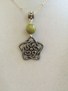 Welsh Celtic Pewter and Connemara Marble Necklace by joytoyou41