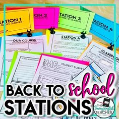 Back to School Stations (Middle School and. by The Daring English Teacher Middle School Literacy, Middle School Teachers, Too Cool For School, Back To School, High School, School Stuff, Maths Syllabus, Student Survey, First Day Of School Activities