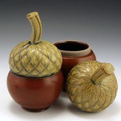 Stoneware Pottery Acorn Jar. $48.00, via Etsy.