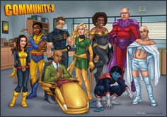 The cast of Community as the X-Men