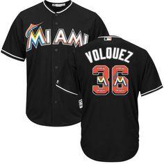 Miami Marlins Cool Base MLB Custom Black Logo Jersey