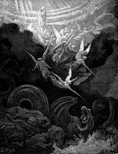 "nigra-lux: "" DORÉ, Gustave (b. 1832, Strasbourg, d. 1883, Paris) The Crowned Virgin: A Vision Of John (Rev 12:1-3) 1866 Engraving Ed. (Orig.) """