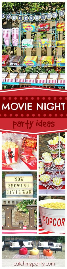 Grab your popcorn and enjoy this great outdoor movie party! The popcorn cupcakes are so cool! See more party ideas and share yours at http://CatchMyParty.com