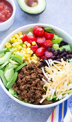 Wondering what to make for dinner? This 20 Minute Healthy Taco Salad recipe will make the whole family happy! It has taco beef, cheese, avocado and salsa dressing! Dorito Taco Salad Recipe, Taco Salad Recipes, Healthy Salad Recipes, Healthy Chicken Recipes, Beef Recipes, Mexican Food Recipes, Lunch Recipes, Recipies, Barbecue Recipes