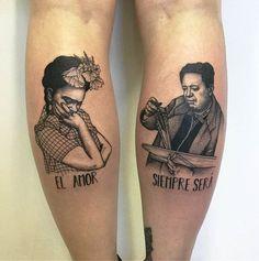 Tattoo El amortization Sizemore Será Frida Kalo and Diego Rivera. Calf tattoos