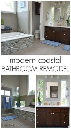 Amazing bathroom renovation! They took this 1980's bathroom and transformed it into a modern coastal master bathroom!