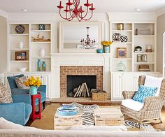 Pops of red and blue keep an neutral space from looking dull.
