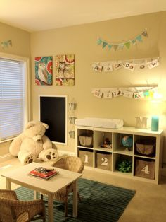 playroom idea - boards with clothespins to display artwork