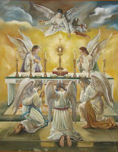 Jesus in the Blessed Sacrament is always surrounded by adoring angels. Adoration Catholic, Catholic Art, Religious Art, Catholic Pictures, Jesus Pictures, Jesus Faith, Angel Cards, Daughters Of The King, Guardian Angels