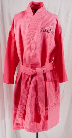 Personalized  Spa Robe Waffle Weave Kimono Hot Pink  Monogrammed on Etsy, $33.00