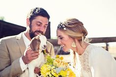 An adorable four-footed friend spends some time with the happy couple. {Paige + Blake}