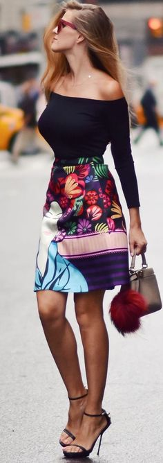 Office look | Off the shoulder black top with floral high waisted skirt
