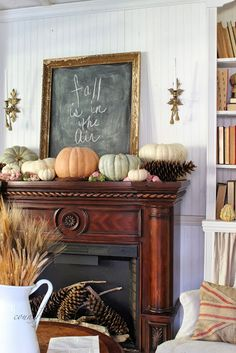Stylish Decor Ideas for Fall Entertaining: Fall Mantel Decor .love the way this looks! Fall Fireplace, Fireplace Mantels, Fireplaces, Wood Mantle, Wood Fireplace, Mantel Styling, Home Decoracion, Autumn Decorating, Decorating Ideas