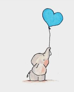 ▷ 1001 + easy ideas to make a cute kawaii drawing for beginners - easy drawing of a dumbo elephant with blue heart shaped balloon, gray animal - Easy Doodles Drawings, Easy Disney Drawings, Disney Character Drawings, Easy Doodle Art, Cute Easy Drawings, Easy Pencil Drawings, Art Drawings Sketches, Blue Drawings, Cute Sketches