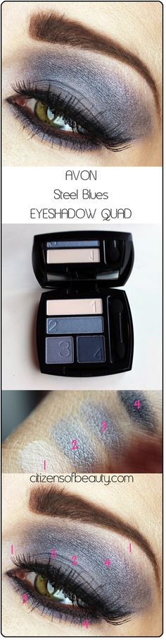 AVON Steel Blues eyeshadow quad copy Avon Eyeshadow Quads: Shockingly Good