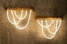 Neon Lighting, Interior Lighting, Rope Lighting, Bar Interior, Restaurant Interior Design, Shelf Lamp, Drawing Furniture, Wall Mounted Lamps, Restaurants