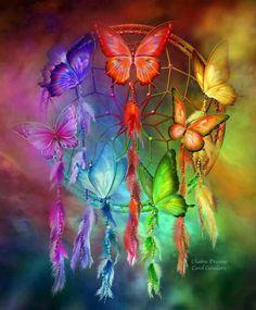 Colorful butterflies and dream catcher. Flutterbys