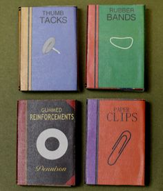 """DIY - mini """"books"""" to hold office supplies made out of a box of matches"""