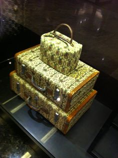Gucci archive pieces from 1961 and 1959 in printed hemp fabric at the Gucci Museo exhibition & pop-up shop at Paragon shopping mall in Singapore