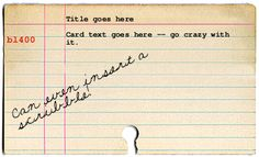 Card catalog generator -- could come in handy