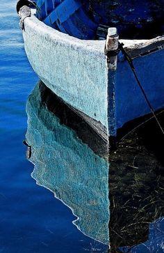 Blue Boat Reflection