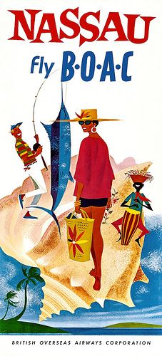 B.O.A.C (British Overseas Airways Corporation) Nassau Travel Poster.