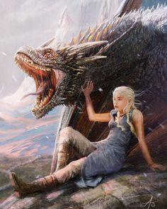 Daenerys Targaryen - Game of Thrones Drogon Game Of Thrones, Arte Game Of Thrones, Game Of Thrones Artwork, Game Of Thrones Dragons, Got Dragons, Game Of Thrones Fans, Mother Of Dragons, Fire Dragon, Dragon Art
