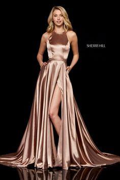 long prom dresses - Size 2 Mocha Sherri Hill 52120 Silk Charmeuse Gown with Pockets Vestido Sherri Hill, Sherri Hill Prom Dresses, Grad Dresses, Satin Dresses, Dresses Dresses, Wedding Dresses, Flapper Dresses, Dress Prom, Satin Gown Prom
