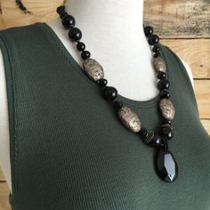 Faceted Onyx with Tibetan Nuggets by Gems4JewelsLLC on Etsy