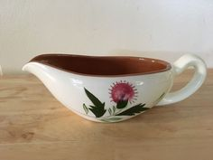 Stangl Thistle  Gravy Boat Hand Painted and Carved Vintage Made in the USA #Stangl