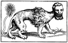 "This picture of a ""Mantichora""/manticore is both disturbing and silly. The Beast, Weird Creatures, Mythical Creatures, Curious Creatures, Graven Images, Dragons, Manticore, Loch Ness Monster, Merian"