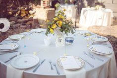 How fun! Free Printable Table Numbers from my blog were used at this beautiful wedding reception! | Photograph by Arden Prucha