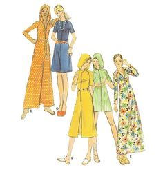 1970s Zip-Front Cover-up Robe Housecoat Pattern by willynillyart