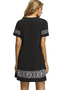 Floerns Women's Embroidered Short Sleeve Casual Shirt Swing Dress