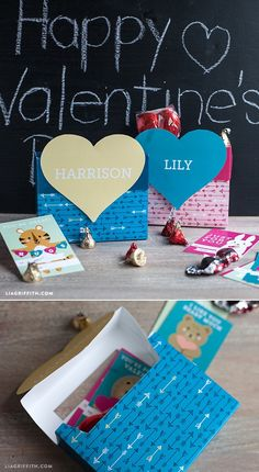 Kids Valentine's Day Mailbox. Printable at www.LiaGriffith.com #kids #valentinesday #kidscraft