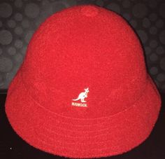 e0235d44920 Authentic KANGOL Bermuda Casual Bucket Hat Cap Size L Red BLUE LABEL  vintage EUC