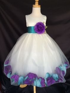 Mardi Grass Ivory Flower Girl Bridesmaids Mixed Petal Teal Purple Dress #24 #Dress