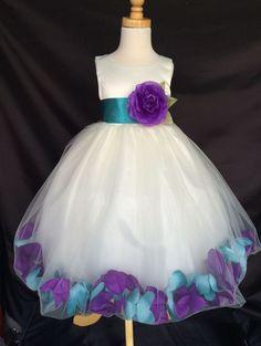 Mardi Grass Ivory Flower Girl Bridesmaids Mixed Petal Teal Purple Dress #24 #Dress