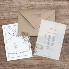Vellum and kraft paper wedding invitations with a hand drawn map. LOVE!