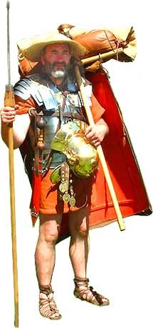 Roman soldier with the equipment he would carry when on the march - reenactment