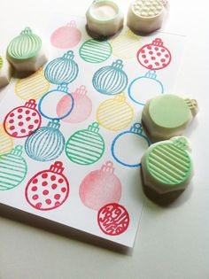 christmas ornament stamp set. hand carved rubber by talktothesun