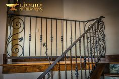 Wrought Iron Porch Railings, Iron Stair Railing, Rustic Home Design, Metal Working, Stairs, House Design, Basements, Design Ideas, Home Decor
