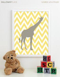 Modern Nursery Art Chevron Giraffe Nursery Print, Safari Animal Kids Wall Art for Children Room Playroom, Baby Nursery Decor - One 11x14