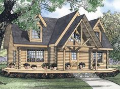 Eplans Log Houses House Plan - Beautiful Handcrafted Log Home - 1665 Square Feet and 3 Bedrooms from Eplans - House Plan Code HWEPL55571